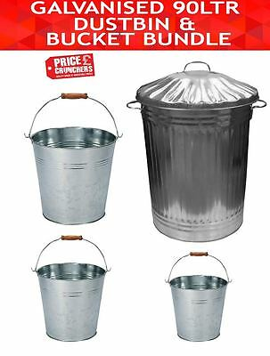 Galvanised Garden Metal Bin and Bucket Set Water Compost Storage 90 L 9L 12L 18L