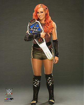 """WWE PHOTO BECKY LYNCH WITH SMACKDOWN TITLE OFFICIAL STUDIO WRESTLING 8x10"""" PROMO"""