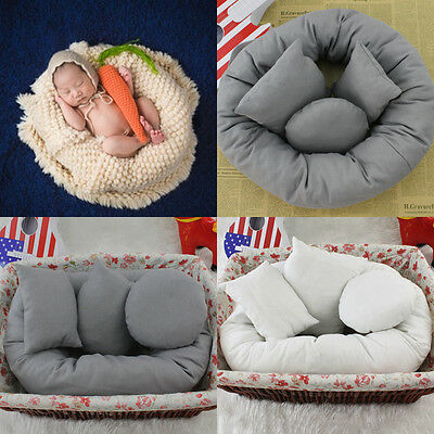 4Pcs/Set Baby Newborn Pillow Basket Filler Wheat Donut Photography Props RW