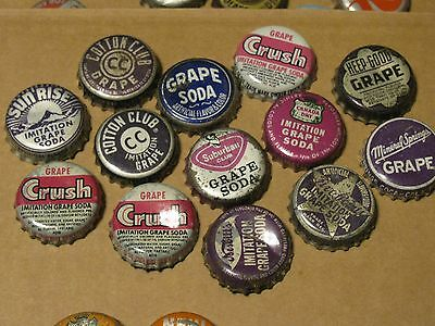 13 Vintage  Grape   Cork Soda Bottle Caps