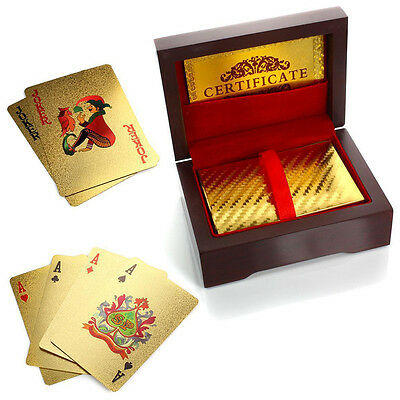 Waterproof Luxury 24K Gold Plated Foil Playing Cards Poker Deck w Red Box Gift
