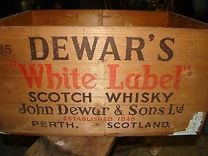 Vintage Dewars White Label Whiskey Crate Wooden Box