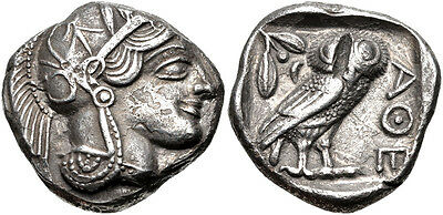 Ancient Greek Attica Athens Tetradrachm Athena Owl 454-404 BC Beautiful Coin!