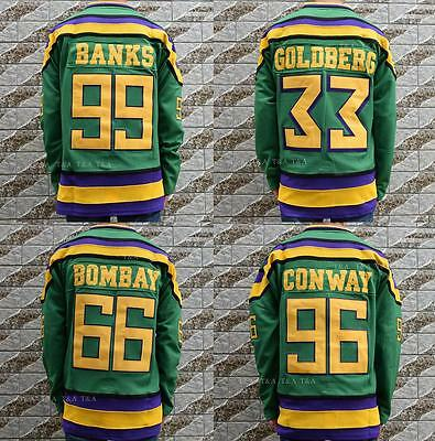 Mighty Ducks 96 Conway 99 Banks 66 Bombay 33 Goldberg Hockey Green Jersey M-3XL