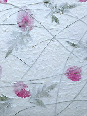 5 White Bamboo, Flower Mulberry Paper sheets -Tear, Scrapbook, Card