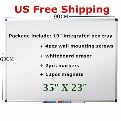 "35"" X 23"" Single Side Magnetic Writing Dry Erase Whiteboard - Office Home School"