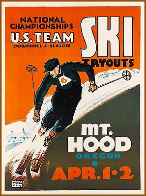 Mt. Hood Oregon U.S. Team Ski Tryouts Vintage Travel Advertisement Poster Print