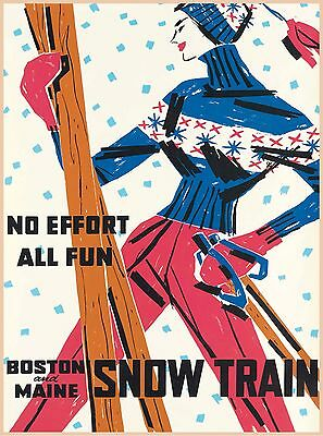 All Fun Boston & Maine Snow Train Vintage Railroad Travel Advertisement Poster
