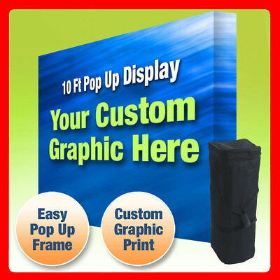 10ft Tension Fabric Pop Up Display With Print - Collapsible Graphic Backdrop