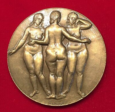 French 1983  *nude Women* Art Bronze Medal By: Henry Dropsy