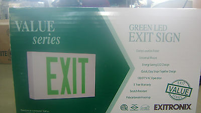 Green LED Exit Sign, Exitronix Value Series