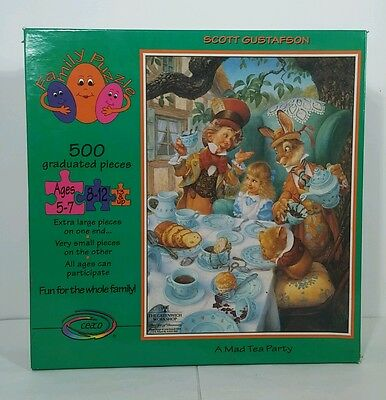A Mad Tea Party Family Puzzle by Scott Gustafson 500 Piece Alice In Wonderland