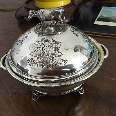 Figural Cow Covered Butter/Cheese Dish Silverplate Simpson Hall Miller & Co