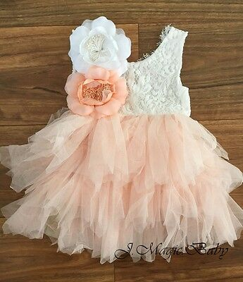 Baby Girls Flower Girl Lace Open Back Tulle Dress Birthday Party Gift Wedding
