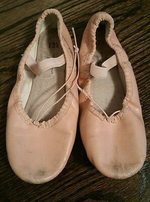 Abt American Theater Girls Pink Leather Ballet Dance Slippers Shoes - 12.5