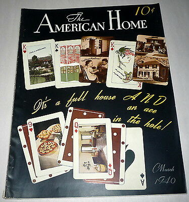 The American Home Magazine March 1940 House Floor plans Recipes Gardening Deco