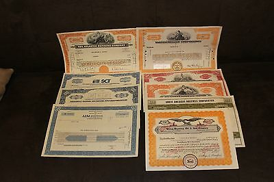Lot of 9 Vintage Stock Certificates Colorful Engraved Scripophily #4 Retail $90