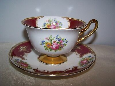 Beautiful Shelley Duchess Pattern Footed Cup & Saucer - Burgungy And Flowers
