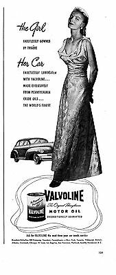 1948 Valvoline Motor Oil- Woman In Evening Gown- Original 5.5 x13.5 Magazine Ad
