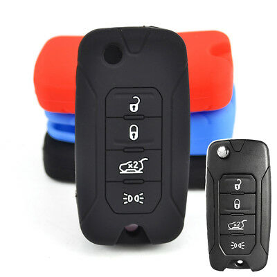 Silicone Key Cover Fit For Jeep Renegade Remote Flip Keyless Fob Case Shell