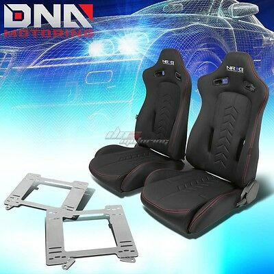 Nrg Black Reclinable Racing Seats+Full Stainless Bracket For Camaro/trans Am