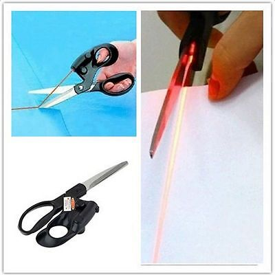 Laser Guided Fabric Scissors Trimmer Sewing Cut Straight Fast Paper Craft Shears