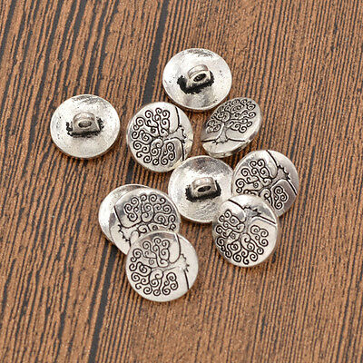 10 Pcs Life of Tree Shank Buttons Metal Clothing Decor Replacement DIY Sewing