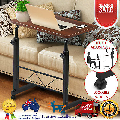 Mobile Portable Laptop Desk Home Office Stand Adjustable w/ Wheels Bedside Table