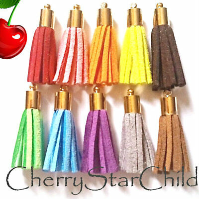 gold pl cap man made leather suede tassel craft findings charm clasp colours