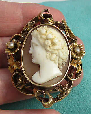 Antique Huge Shell Hand Carved Cameo 14k Gold Pearl Flower Brooch Pin Pendant