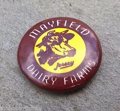 Vintage Mayfield Dairy Farms Brown Milk Cow Yellow Jersey Lapel Hat Pin