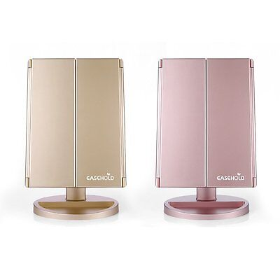 Makeup Tri-sided Foldable Lighted LED Beauty Vanity Mirror 1X /2X /3X Magnifying