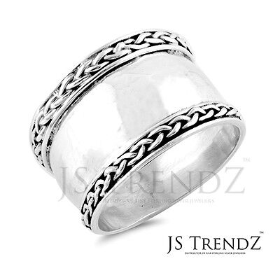 Womens Sterling Silver 14mm Wide Bali Style Band Ring size 5 6 7 8 9 10 11 12