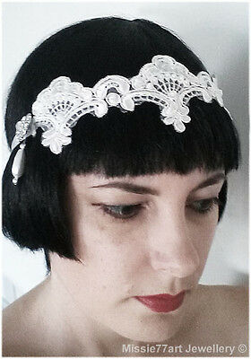 Flapper Headpiece Bridal Fascinator White Rhinestone Lace Headband Wedding