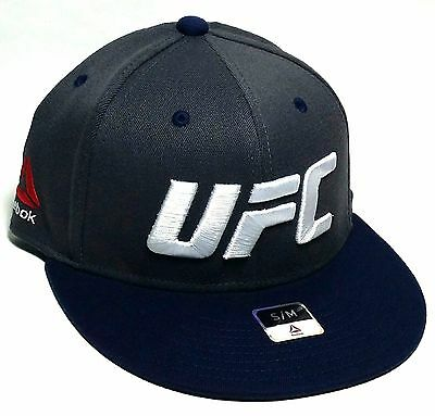 UFC Reebok RBK MMA Fighters Super Flex Gray Navy Blue Fit Fitted Hat Cap S/M