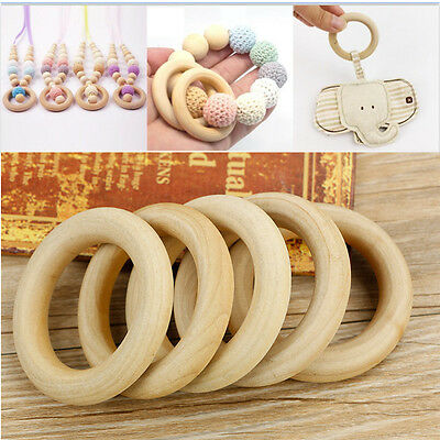 5/10/20pcs Natural Untreated Wooden Rings Baby Teething / Curtain / Craft Rings