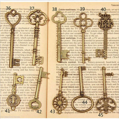 15Pcs Mixed Random Antique Vintage Old Look Skeleton Key Lot Crown Bow Charm
