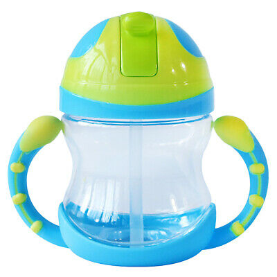 Baby Kids Bottle Straw Cup Sippy Cups with Handle Feeding Travel Bottle 240ml