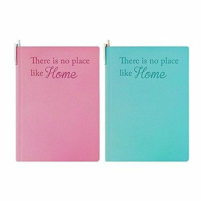 Tallon A5 Address Book with Pen - Pink/Blue - 'There is no place like home'