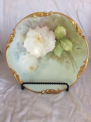 Antique Hand Painted Rose Flower Plate