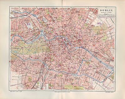Landkarte 1897: Stadtplan/City Map: BERLIN. Umgebung von BERLIN. Capital Germany