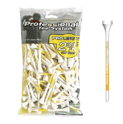 New Pride PTS Wooden ProLength Golf Tees - 100 Pack - Yellow 69mm / 2 3/4 inch