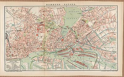 Landkarte city map 1899: Stadtplan HAMBURG-ALTONA, Maßstab 1 : 21.000 Germany