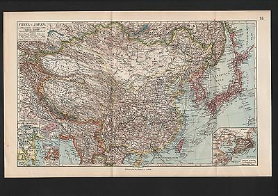 Landkarte map 1912: CHINA UND JAPAN. Asien Asia Inseln Atlantik Pazifik