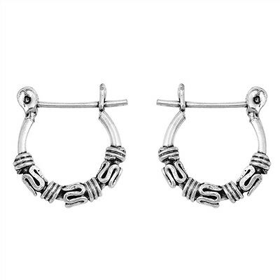Bali Style Oxidised 925 Sterling Silver Leverback Ear Hoops Hoop Earrings 15 mm