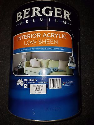 Berger Premium Low Sheen Interior 10L Tinted To Hog Bristle C44 Can Freight