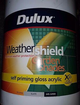 Dulux Exterior Gloss Slate Weathersheild Grey Color 10L Can Freight Paint C52