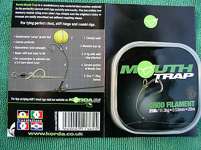 Korda Mouth Trap - Stiff Rig Vorfachmaterial 25lbs Chod Rig Material KMT25