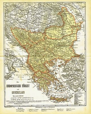 Turkey Greece antique map 1871 - Europe Athens Crete Istanbul Heraklion Hellas