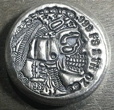 Limited Hobo Nickel Indian Skull 1 oz .999 Silver USA Made Round Bullion Bar